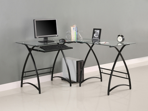 L-Shaped Computer Desk in Black / Clear Glass - D51AL30CB