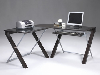 L-Shaped Computer Desk in Espresso with Silver Accents - Office Star - XT25L