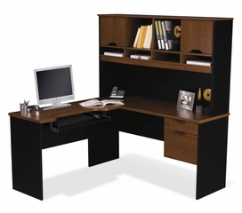 L-Shaped Computer Work Station in Tuscany Brown and Black - Innova - Bestar Office Furniture - 92420-63