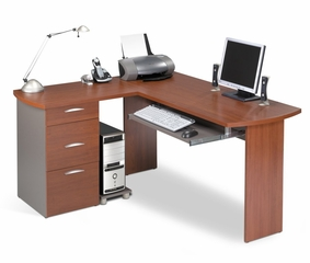L-Shaped Computer Workstation in Cinnamon and Slate - Capri - Bestar Office Furniture - 82420-58