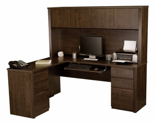 L-Shaped Desk and Hutch in Chocolate - Prestige Plus - Bestar Office Furniture - 99852-69