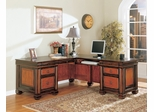L-Shaped Desk in Cappuccino / Dark Oak - Coaster