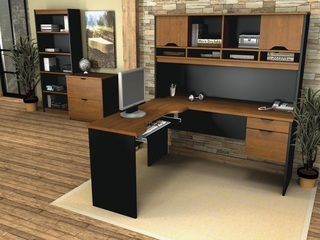 L-Shaped Desk Set 1 in Tuscany Brown and Black - Innova - Bestar Office Furniture - 92851-63