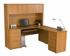 L-Shaped Desk Set 2 in Cappuccino Cherry - Embassy - Bestar Office Furniture - 60853-68