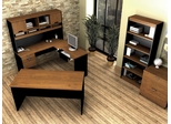 L-Shaped Desk Set in Tuscany Brown and Black - Innova - Bestar Office Furniture - 92852-63