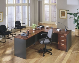 L-Shaped Desk with Pedestal - Series C Hansen Cherry Collection - Bush Office Furniture - WC24424-26-90
