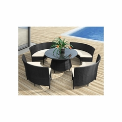 La Barrosa Outdoor Table Set in Espresso - Zuo