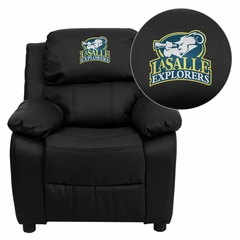La Salle University Explorers Embroidered Black Leather Kids Recliner - BT-7985-KID-BK-LEA-41043-EMB-GG