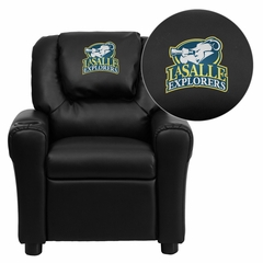 La Salle University Explorers Embroidered Black Vinyl Kids Recliner - DG-ULT-KID-BK-41043-EMB-GG