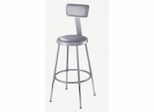 "Lab Stool - 19""-27"" Adjustable Stool with Padded Seat and Backrest - National Public Seating - 6418HB"