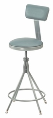 "Lab Stool - 24""-28"" Adjustable Premium Swivel Stool with Backrest - National Public Seating - 6524HB"