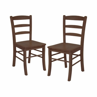 Ladder Back Chair in Antique Walnut - Set of 2 - Winsome Trading - 94232