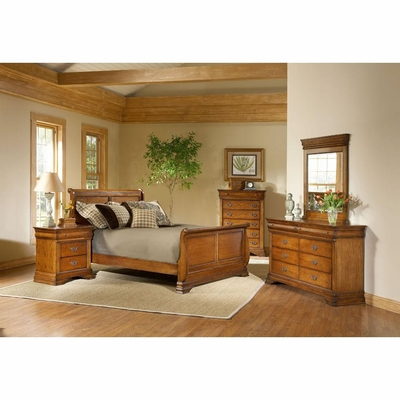 Lafayette 5 Piece Sleigh Bedroom Set American Oak - Largo - LARGO-WG-B4350-SLEIGH-5PC-SET