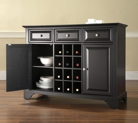 LaFayette Buffet Server / Sideboard Cabinet with Wine Storage in Black Finish - Crosley Furniture - KF42001BBK