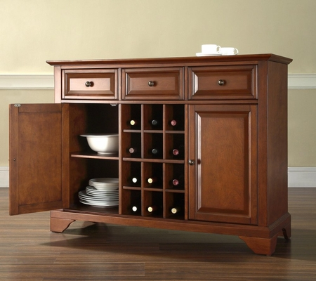 LaFayette Buffet Server / Sideboard Cabinet with Wine Storage in Classic Cherry Finish - Crosley Furniture - KF42001BCH