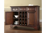 LaFayette Buffet Server / Sideboard Cabinet with Wine Storage in Vintage Mahogany Finish - Crosley Furniture - KF42001BMA