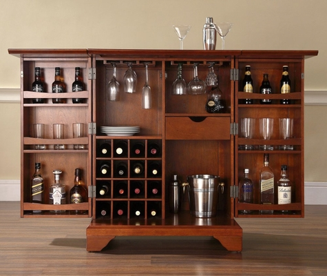 LaFayette Expandable Bar Cabinet in Classic Cherry Finish - Crosley Furniture - KF40001BCH