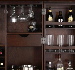 LaFayette Expandable Bar Cabinet in Vintage Mahogany Finish - Crosley Furniture - KF40001BMA