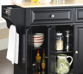 LaFayette Natural Wood Top Kitchen Island in Black Finish - Crosley Furniture - KF30001BBK