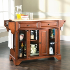 LaFayette Natural Wood Top Kitchen Island in Classic Cherry Finish - Crosley Furniture - KF30001BCH