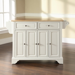 LaFayette Natural Wood Top Kitchen Island in White Finish - Crosley Furniture - KF30001BWH