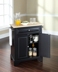 LaFayette Natural Wood Top Portable Kitchen Island in Black - CROSLEY-KF30021BBK