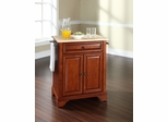 LaFayette Natural Wood Top Portable Kitchen Island in Classic Cherry - CROSLEY-KF30021BCH