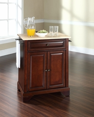 LaFayette Natural Wood Top Portable Kitchen Island in Vintage Mahogany - CROSLEY-KF30021BMA