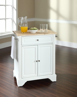 LaFayette Natural Wood Top Portable Kitchen Island in White - CROSLEY-KF30021BWH