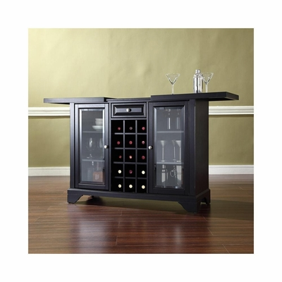 Lafayette Sliding Top Bar Cabinet in Black - CROSLEY-KF40002BBK