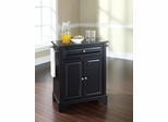 LaFayette Solid Black Granite Top Portable Kitchen Island in Black - CROSLEY-KF30024BBK