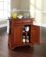 LaFayette Solid Black Granite Top Portable Kitchen Island in Classic Cherry - CROSLEY-KF30024BCH