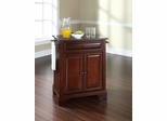 LaFayette Solid Black Granite Top Portable Kitchen Island in Vintage Mahogany - CROSLEY-KF30024BMA