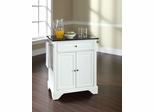 LaFayette Solid Black Granite Top Portable Kitchen Island in White - CROSLEY-KF30024BWH