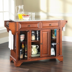 LaFayette Solid Granite Top Kitchen Island in Classic Cherry Finish - Crosley Furniture - KF30003BCH