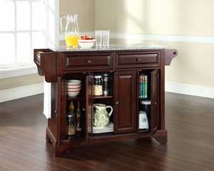 LaFayette Solid Granite Top Kitchen Island in Vintage Mahogany - CROSLEY-KF30003BMA