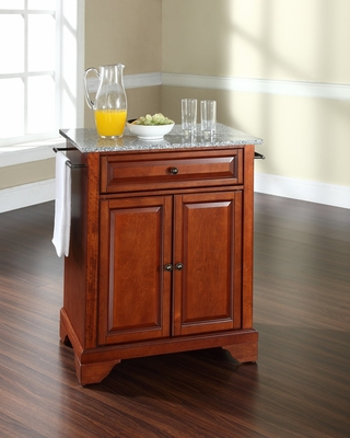 LaFayette Solid Granite Top Portable Kitchen Island in Classic Cherry - CROSLEY-KF30023BCH