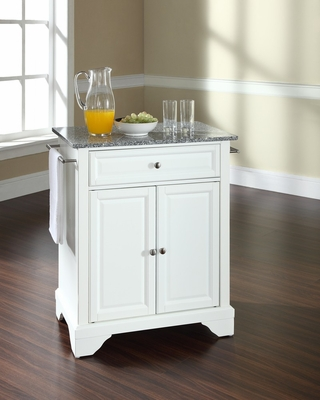 LaFayette Solid Granite Top Portable Kitchen Island in White - CROSLEY-KF30023BWH