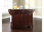 LaFayette Stainless Steel Top Kitchen Island in Vintage Mahogany - CROSLEY-KF30002BMA