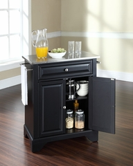 LaFayette Stainless Steel Top Portable Kitchen Island in Black - CROSLEY-KF30022BBK