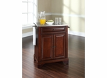 LaFayette Stainless Steel Top Portable Kitchen Island in Vintage Mahogany - CROSLEY-KF30022BMA