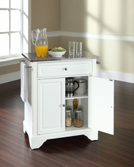 LaFayette Stainless Steel Top Portable Kitchen Island in White - CROSLEY-KF30022BWH