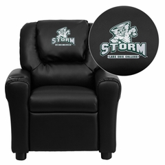 Lake Erie College Storm Embroidered Black Vinyl Kids Recliner - DG-ULT-KID-BK-41044-EMB-GG