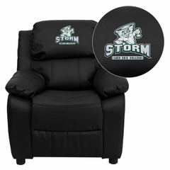 Lake Erie College Storm Embroidered Leather Kids Recliner - BT-7985-KID-BK-LEA-41044-EMB-GG