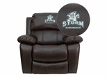 Lake Erie College Storm Leather Rocker Recliner - MEN-DA3439-91-BK-41044-EMB-GG