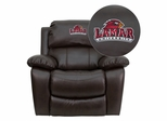 Lamar University Cardinals Leather Rocker Recliner - MEN-DA3439-91-BRN-41045-EMB-GG