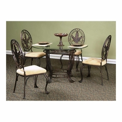 Lanai Round Table 5 Pc Glass Top Dining Set - Hand-Brushed Accents - Largo - LARGO-ST-D188-30B-41-SET