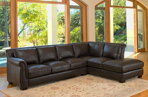 Lancaster Top Grain Leather Sectional Sofa - Abbyson Living - CI-D300-BRN