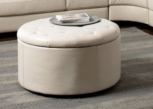 Landen Leather Storage Ottoman in Cream - 501107