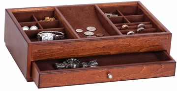 Landon Wooden Dresser Top Valet in Antique Walnut - 00687S13